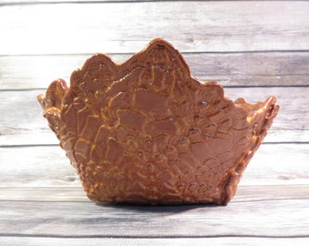 Brown crocheted doily bowl
