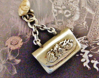 Antique Chinese dragon Opium box locket, mysterious little fob