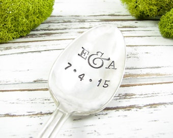 Stamped Spoon. Custom Initials and Date. Great Gift for a Wedding or Anniversary. Hand Stamped Vintage Spoon for Lovers. 547SP