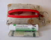 Tiny Zippered Fabric Boxy Keychain Bag Coin Purse Wallet Red Riding Hood