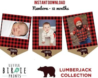 LUMBERJACK First Birthday Party - Lumberjack Monthly Photo Banner Month Circles - Lumberjack Party Printables Instant Download