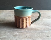 Artisan Mug, 12 oz Handmade Ceramic Large Coffee Mug Tea Cup in Turquoise and Brown