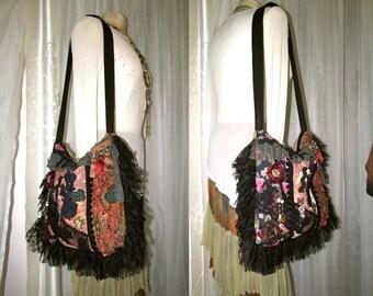 Handmade Boho Bag, bohemian bag, thick fabric bag, large shoulder bag, jacquard chenille denim fabrics, texture details embellished