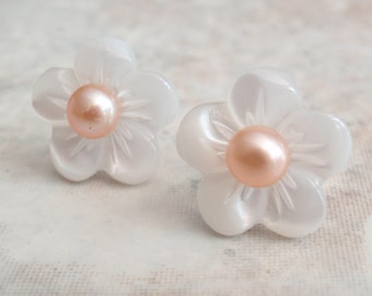 Pearl Plumeria Earrings Sterling Silver Carved Mother of Pearl MOP Goldish Pink White Wedding Bridal