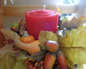 Red Beeswax Candle, Fall Beeswax Candle, Autumn Beeswax Candle, Fall Home Decor, Beeswax Candle, Beeswax Pillar Candle, Red Candle,