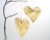 Natural silk heart hanging decoration, wedding decor, Christmas decoration