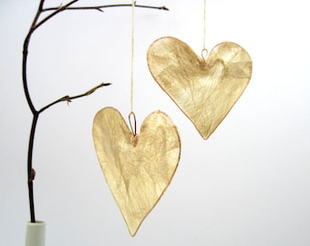 Natural silk heart hanging decoration, wedding decor, Valentine gift