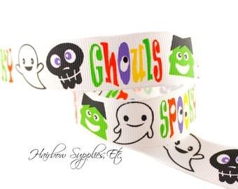 Spooky Ghouls 7/8 inch Halloween Ribbon - Halloween Bow, Halloween Hair Bow, Halloween Grosgrain Ribbon, Monster Ribbon, Ghost Ribbon