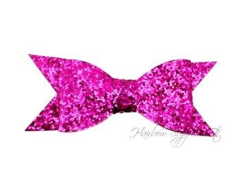 Magenta Thin Glitter Bows 4 inch - Magenta Glitter Hair Bow, Pink Glitter Bows, Purple Glitter Bow Headband, Hot Pink Glitter Bow Tie