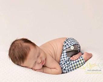 newborn boy plaid pants with pockets (Liam) - photography prop - blue, grey, white, black, plaid