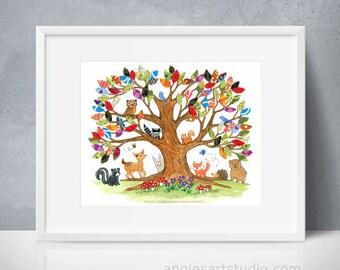 Printable Wall Art, Tree of Life, Woodland Creatures, Forest Animals, Nursery Tree Art, Digital Poster Print, 8x10, 11x14, 16x20