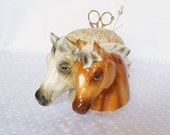 Porcelain Horse Pincushion made from vintage Inarco Japan planter - upcycled recycled repurposed - pincushion with Scissors