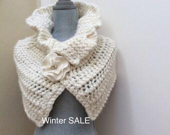 Winter Bridal Wrap - Ivory Bridal Wrap - Shrug Bolero Shawl Cape - Wedding Accessories - Bridal Accessories