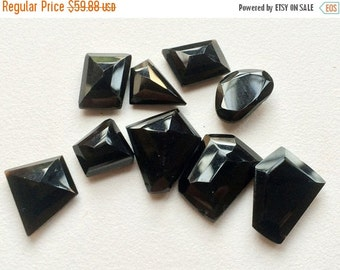 55% ON SALE Black Onyx Cabochon, RoseCut Gemstones, Flat Cabochons, Black Onyx Ring, Fancy Cut Cabochons, 17x20mm To 13x13mm, 10 Pieces