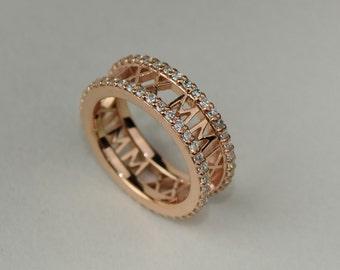 Rose Gold Diamond Eternity Roman Numeral Ring - Solid 14k, 18k Rose Gold. VS1 or SI Diamond Full Eternity. Custom Anniversary Date