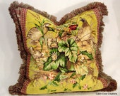 """Edwin's Covey Scalamandre Linen Velvet Mustard 1 23"""" sq pillow unique Custom design with beautiful trim by Cabin Cove Creations"""