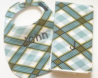 Monogrammed Bib and Burp Cloth set -Picnic Plaid - Personalized Baby Gift - Embroidered Bib - Embroidered Baby Gift - Baby Boy Bib