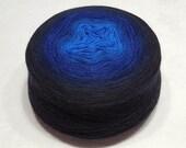 Gradient yarn extra fine merino yarn lace weight yarn handdyed yarn 96-103g (3.4-3.6oz) - Blue to black