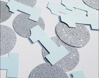 Baby Boy's, First Birthday, Party Confetti, Large Blue Number Ones, Silver Glitter, Table Decorations, Dessert Buffet Supply, 50 Pieces