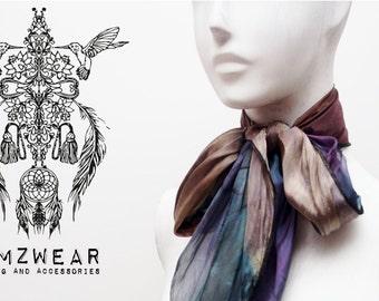 Women's Boho silk scarf natural colour tones