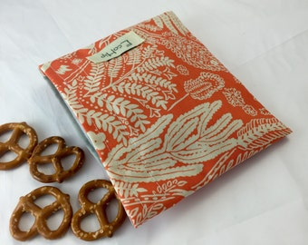 Reusable Snack Bag - Reusable Baggie - Orange Snack Bag - Fabric Snack Bag - Reusable Fabric Snack Bag - Orange Flower Pattern