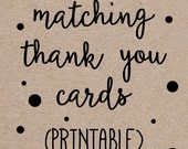 Printable Thank You Notes Cards to Match any Invitation Design from OhCreativeOne, DIY digital file