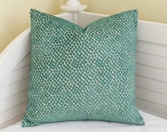 Kravet Velvety Dot in Turquoise Designer Pillow Cover - Square, Lumbar and Euro Sizes