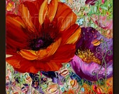 Poppy Poppies Floral Canvas Modern Flower Oil Painting Textured Palette Knife Original Art 16X16 by Willson Lau