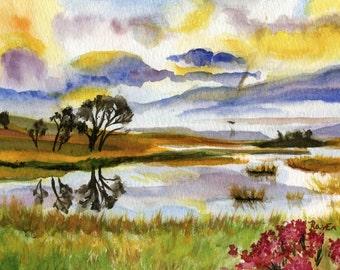 Scottish landscape, Scotland, highlands, Hills, Cottage - Original Watercolor Painting - 8 x 11 inches
