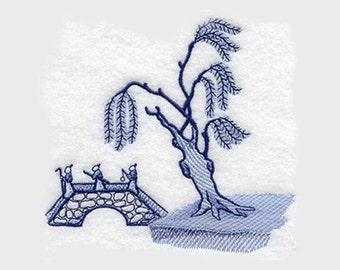 Blue Willow - Tree & Bridge Tea Towel | Embroidered Tea Towel | Embroidered Kitchen Towel | Embroidered Hand Towel | Kitchen Towel