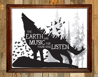 The Earth Has Music For Those Who Listen - wolf digital art print