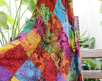 Floral Print Thai Soft Cotton Patchwork Boho Skirt - elastic waist OM1610-05