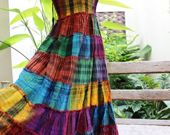 Thai Woven Cotton Long Tiered Skirt/ Dress - OMWV 1610-16