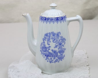 "Blue White Teapot Chinablau Bavaria 6.5"" Tall Asian Floral Design Urn Pots Golds"