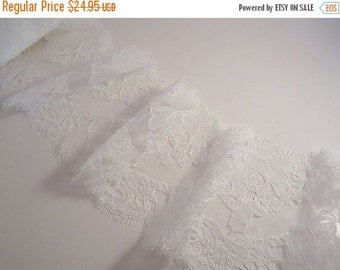 ON SALE White Rose Pattern French Chantilly Lace Trim--One Yard