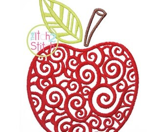 Scroll Apple Embroidery Design,  Sizes 4x4, 5x7, and 6x10  INSTANT DOWNLOAD now available