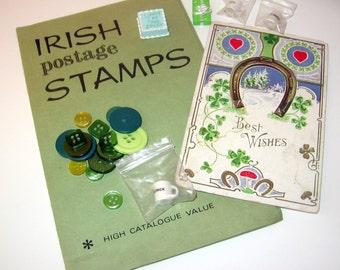 Vintage Lucky IRISH St. Patricks Ephemera Craft Mini Muse Inspiration Package HURRY it's March destash flash stash sale  fun