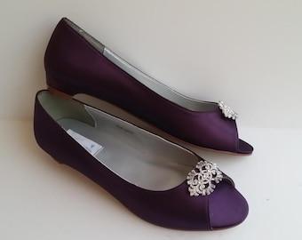 Eggplant Purple Wedding Shoes Kitten Heel Bridal Shoes Eggplant Purple Bridesmaid Shoes - PICK from OVER 100 COLORS Vintage Style Brooch