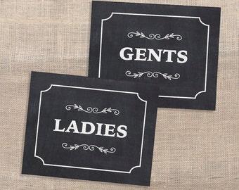 Ladies & Gents Chalkboard Sign, Wedding, Dressing Room Party Signage, DIY Printable, INSTANT DOWNLOAD