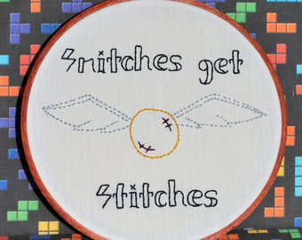 """Snitches Get Stitches - Golden Snitch Inspired -  6"""" Hand Embroidery"""