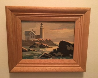 Vintage Paint by Number Lighthouse Scene – PBN Lighthouse – Paint by Numbers