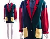 Vintage Primary Colors COLORBLOCK Wool Blend Boyfriend Sweater Jumper Cardigan Mondrian Slouchy Grandpa Sweater Medium Large