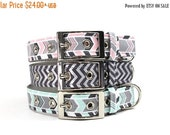 ON SALE Dog Collar with Metal Buckle- Mint, Pink or Grey Chevron Stripe