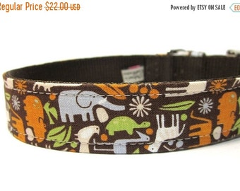 BIG SALE Dog Collar with Metal Buckle- Zoology in Brown