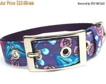 ON SALE Purple Dog Collar- Purple Floral Passion