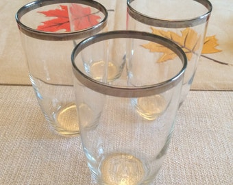 Mid Century Barware, Platinum Trimmed Cocktail Glasses Set of 4