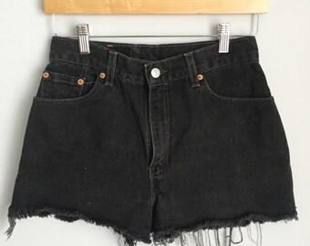 Black Levis 550 Cut Off Shorts