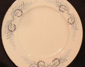 Lucerne Dinner Plate- Vintage Dinner Plate in Lucerne by Franciscan- Blue/Grey Ferns on Rim
