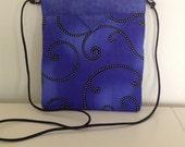 Quilted Fabric Snap Bag Purse Handbag in Deep Blue Purple