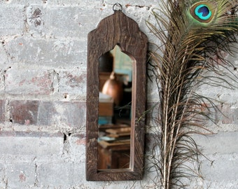 Reseved for AnnaLynn Minaret Mirror Reclaimed Vintage Indian Door Panel Wall Hanging Distressed Wood Mirror Moroccan Decor Turkish